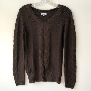 Moschino Jeans Wool Braid Knit Sweater Brown S
